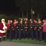 Santa and Scooter Fredrickson, Toys for Tots, pictured with Marines at Fisher's Restaurant in Orange Beach